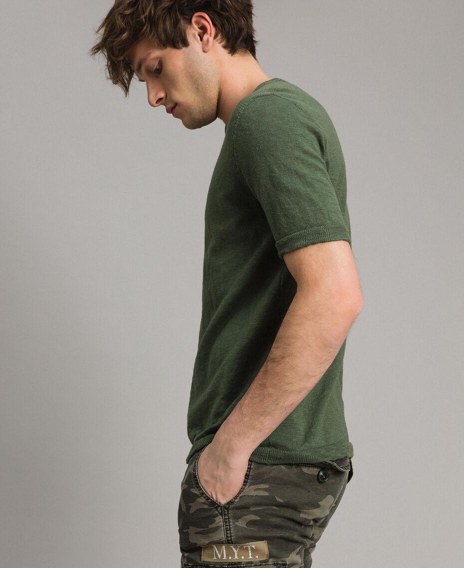 """T-shirt en coton mélangé flammé Vert """"Cactus"""" Homme 191UT3071-02"""