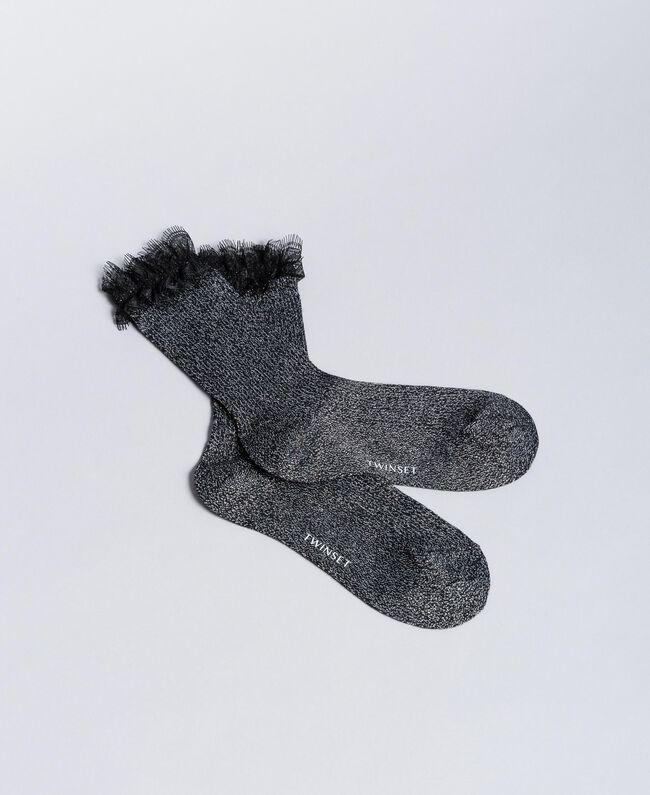 Lurex stockings with lace Black Woman QA8TKD-01