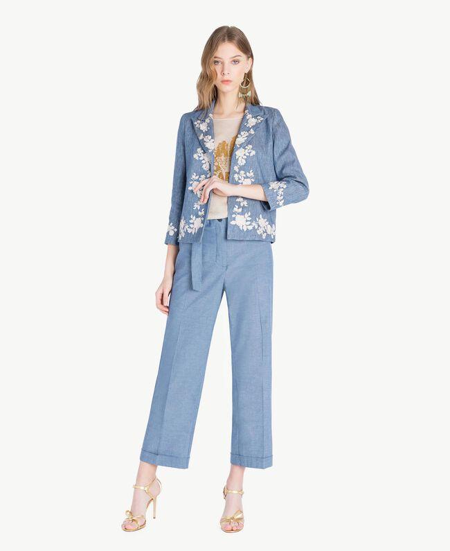 Embroidered jacket Dark Blue Denim Woman TS82BN-05