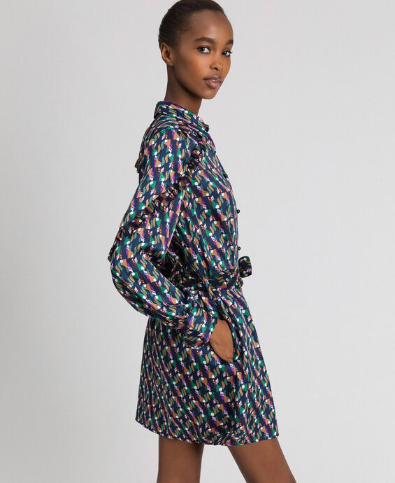 Printed shirt dress with belt