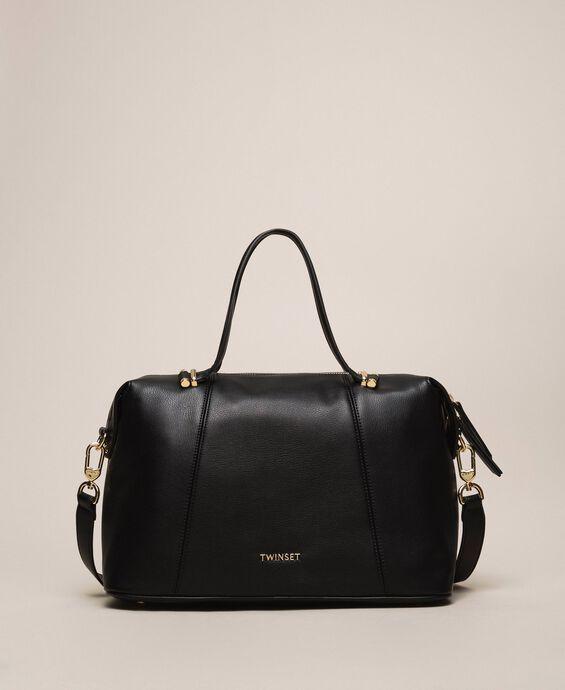 Faux leather bowler bag