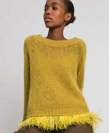 "Mohair jumper and feathered top ""Wasabi"" Yellow Woman 192TT3275-05"