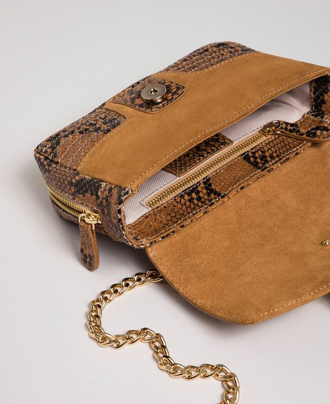Petit sac Rebel à bandoulière en cuir et cuir velours Imprimé Python Brandy Femme 192TO8240-05