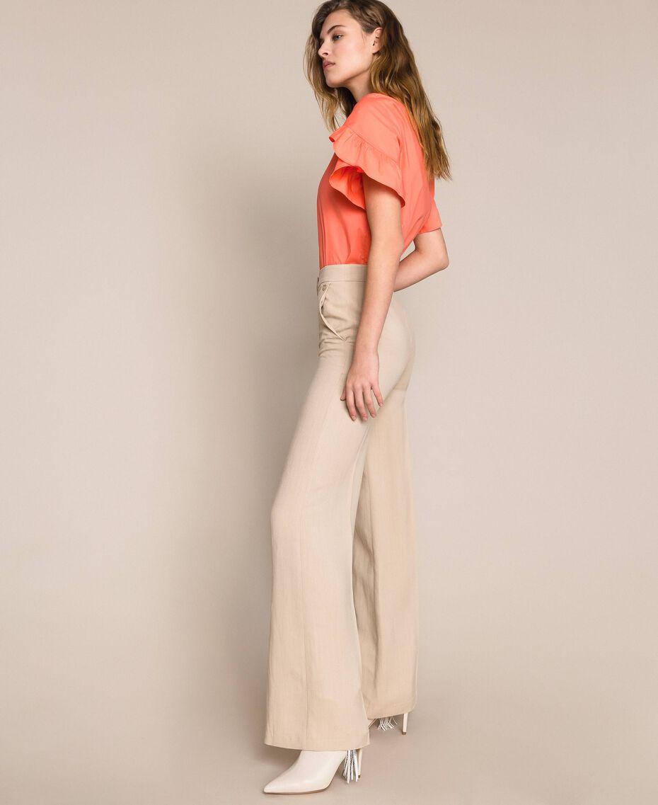 Linen blend trousers Nougat Beige Woman 201TT2216-02