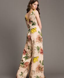 "Printed crêpe de Chine jumpsuit All Over ""Shell"" Beige Flower Print Woman 191MT2214-03"