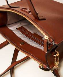 Vertical shopper with logo Leather Brown Woman 212TB7060-06