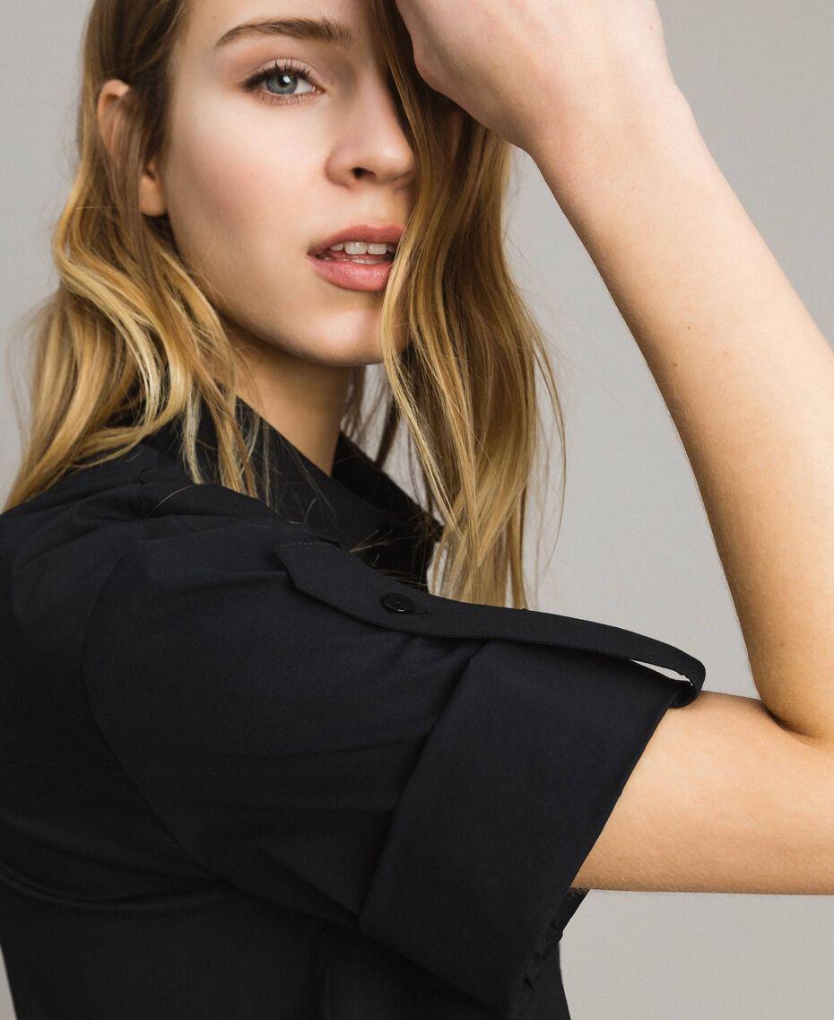 Popeline-Hemd mit Spitze Schwarz Frau 191TT2238-02
