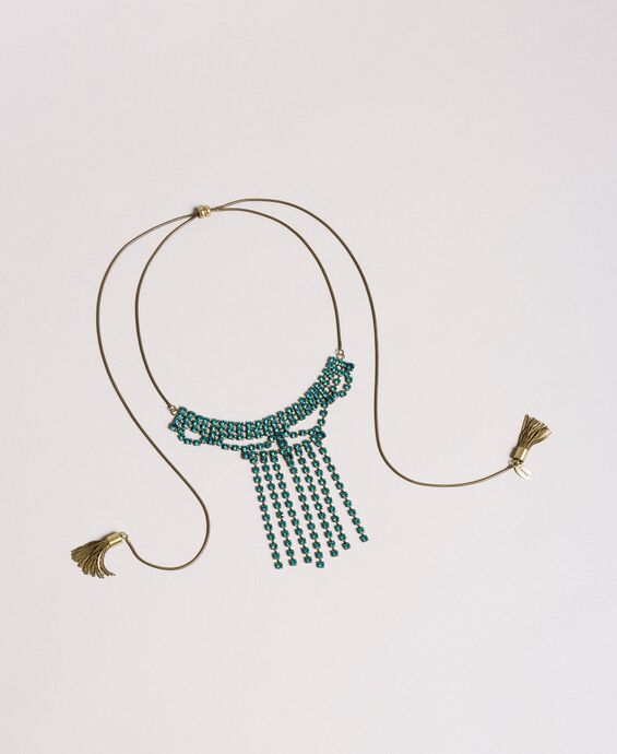 Choker with rhinestones and metal tassels
