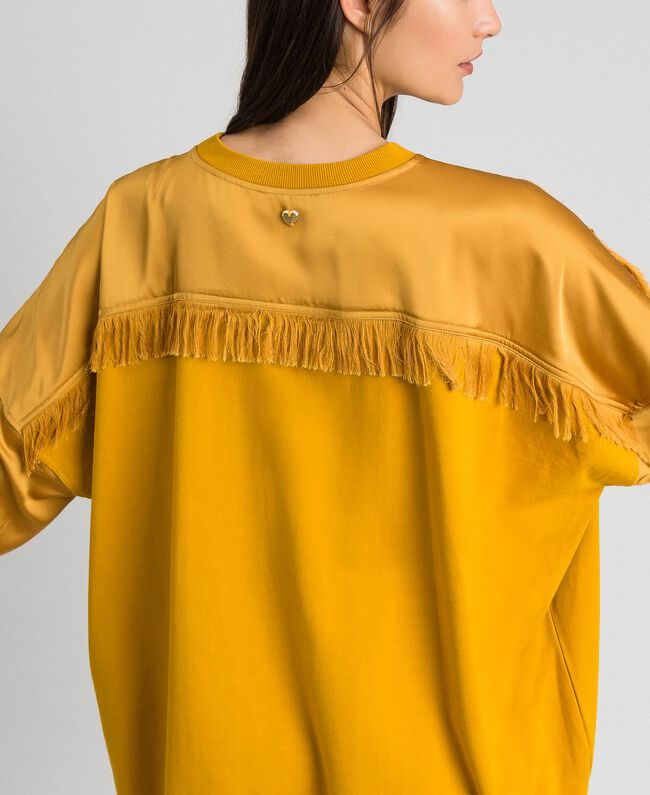Satin maxi sweatshirt with lace and fringes Saffron Yellow Woman 192MP2271-04