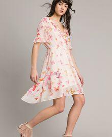 Georgette-Kleid mit Schmetterlings-Aufdruck Motiv Schmetterling Gemischt Pink Frau 191TT2394-02
