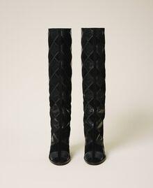 Stiefel aus Leder mit Rautendessin Zweifarbige Rauten Schwarz / Schwarz Frau 202TCT150-04