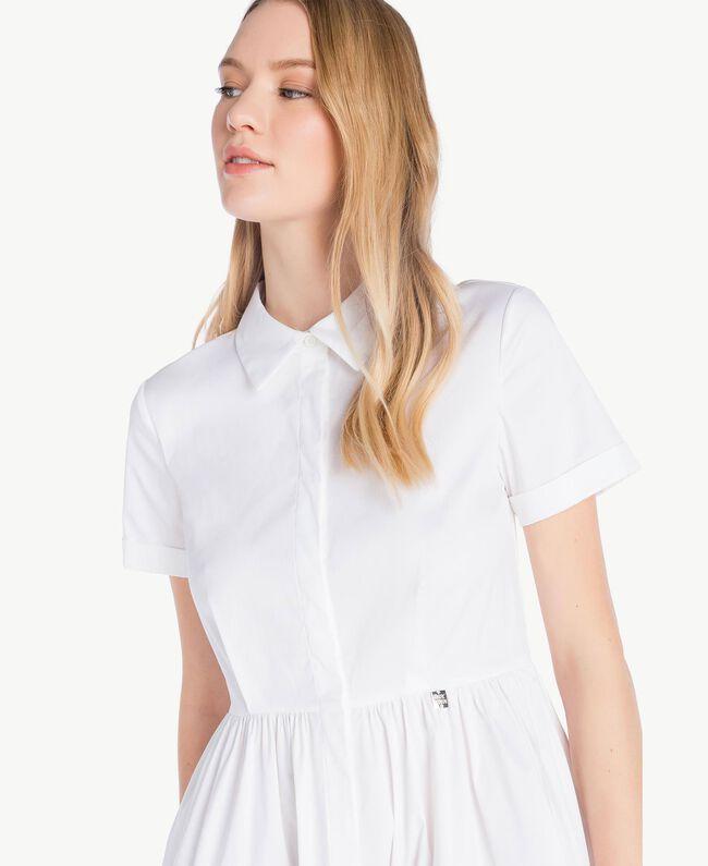 Robe chemisier popeline Bicolore Blanc Optique / Rouge Feu Femme YS82FC-04