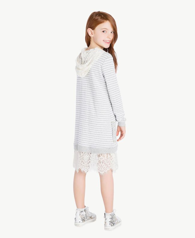 Maxi sweat-shirt dentelle Rayure Blanc Papyrus / Gris Mélangé / Chantilly Enfant GS82UA-04