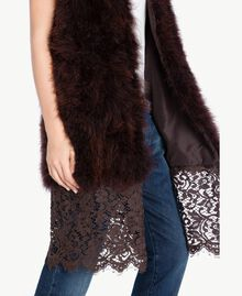 Long fur waistcoat Dark Brown Female PA72RN-05