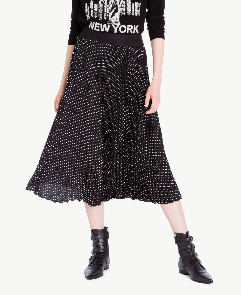 Medium length polka dot skirt Black Polka Dot Print / Ivory Woman PS82L2-01