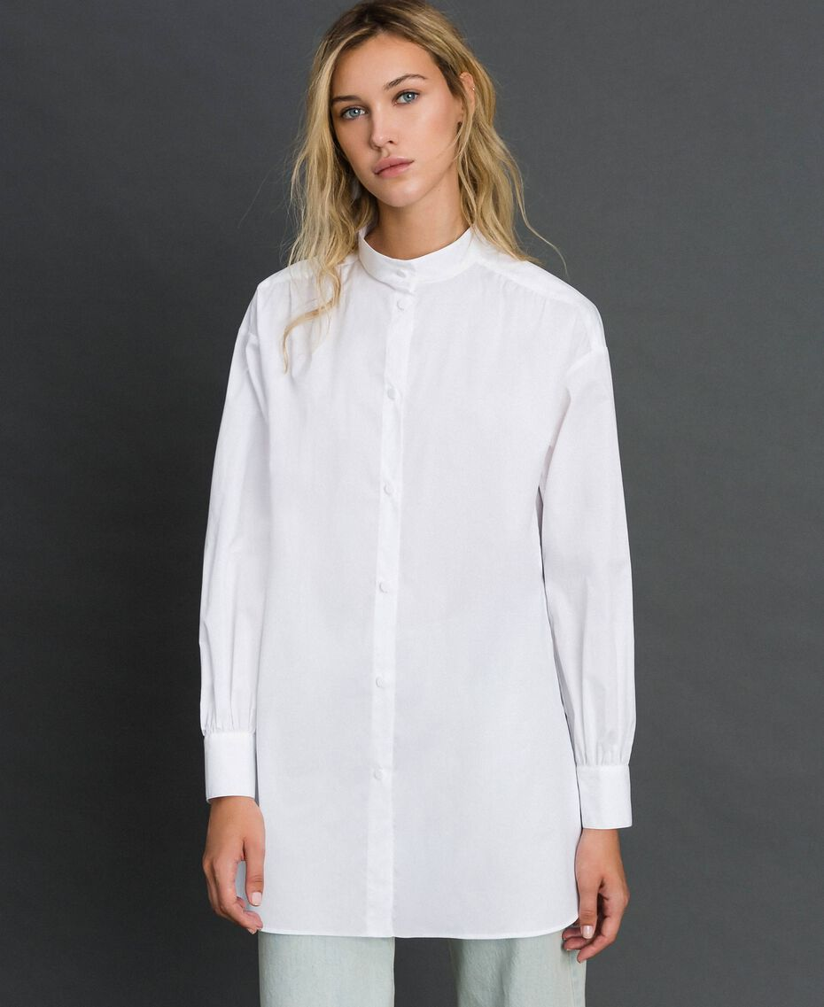 Long poplin shirt with gatherings White Woman 192ST2071-02