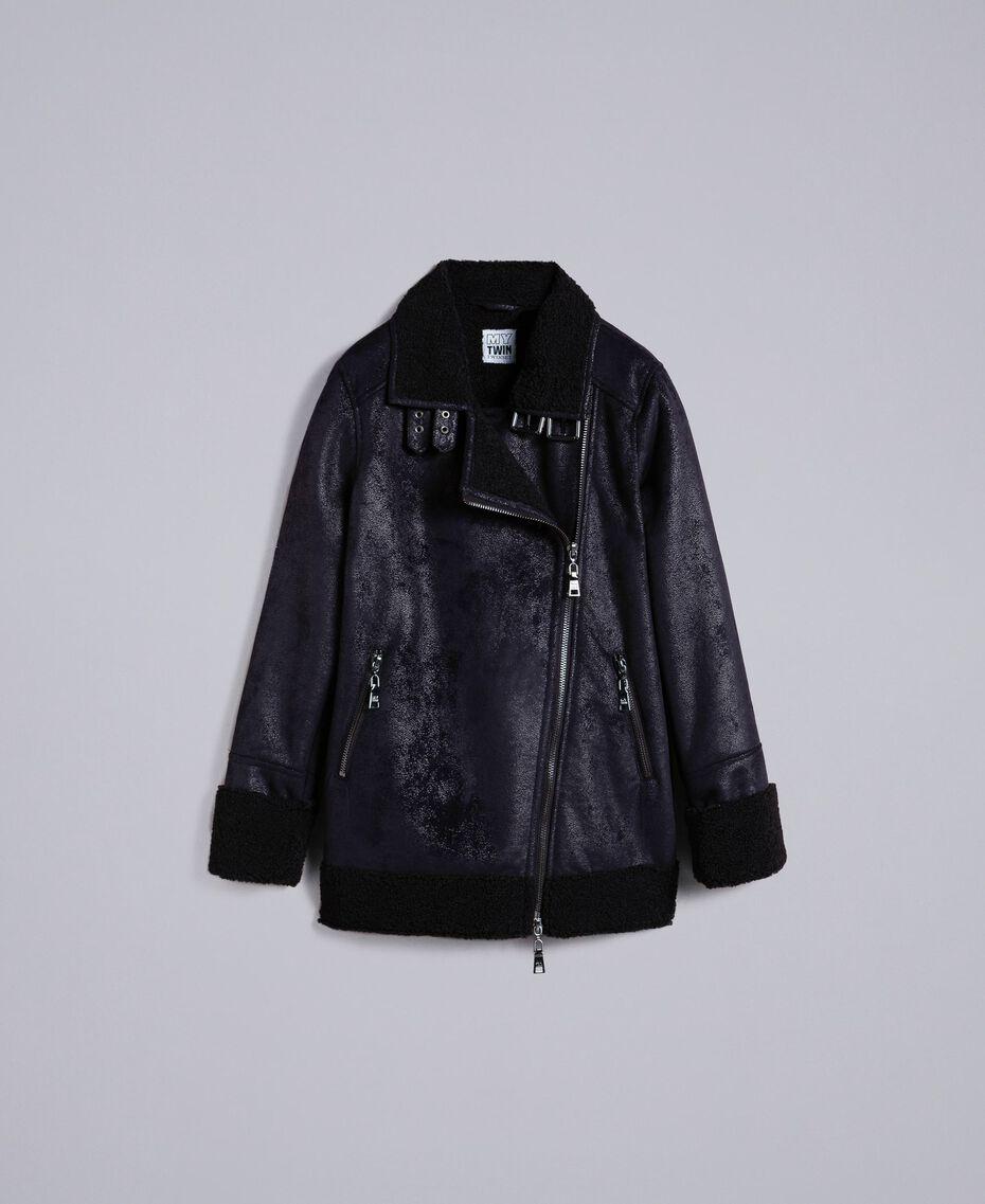 Faux shearling jacket Black / Black Woman JA82G1-0S