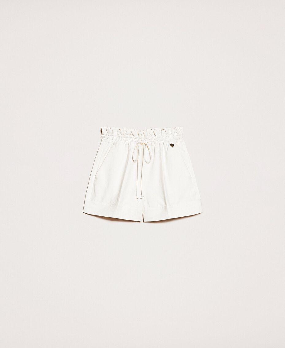 Shorts aus Leinenmischung Weiß Schnee Frau 201TP2255-0S