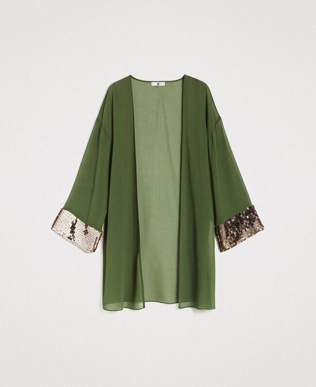 Kimono mit Pailletten Amazonas Grün Frau 191LM2CEE-0S