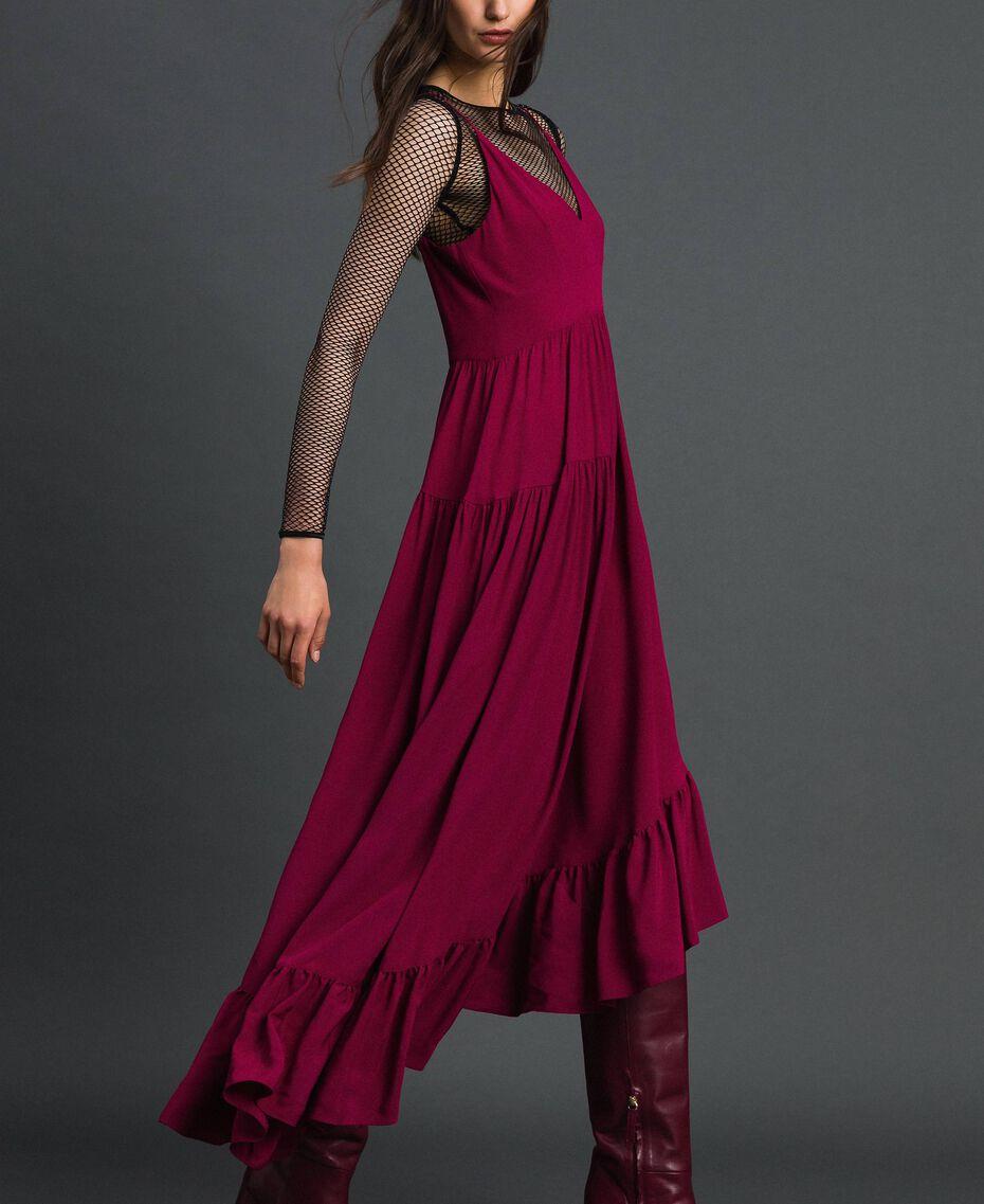 Asymmetrisches Kleid aus Crêpe de Chine aus Seidenmischung Rote-Bete-Rot Frau 192TP2384-02