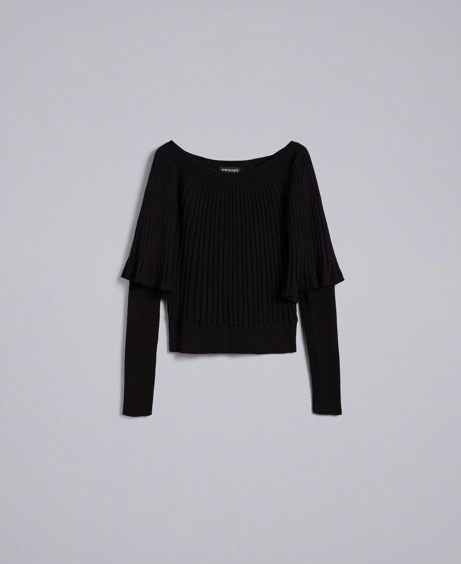 Pullover mit Rippenmuster in Plisseeoptik Schwarz Frau TA833Q-0S