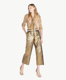 Cropped-Hose aus Jacquard Jacquard Gold / Metallic-Elfenbein Frau TS826P-05
