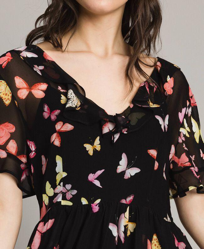 Robe en georgette à imprimé papillon Imprimé Papillon Noir Mixte Femme 191TT2394-04