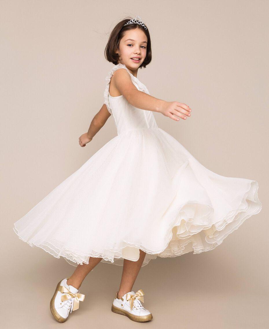 Plumetis tulle dress Pale Cream Child 201GJ2QD0-02