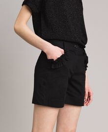 Poplin shorts with ruches Black Woman 191MT2053-02