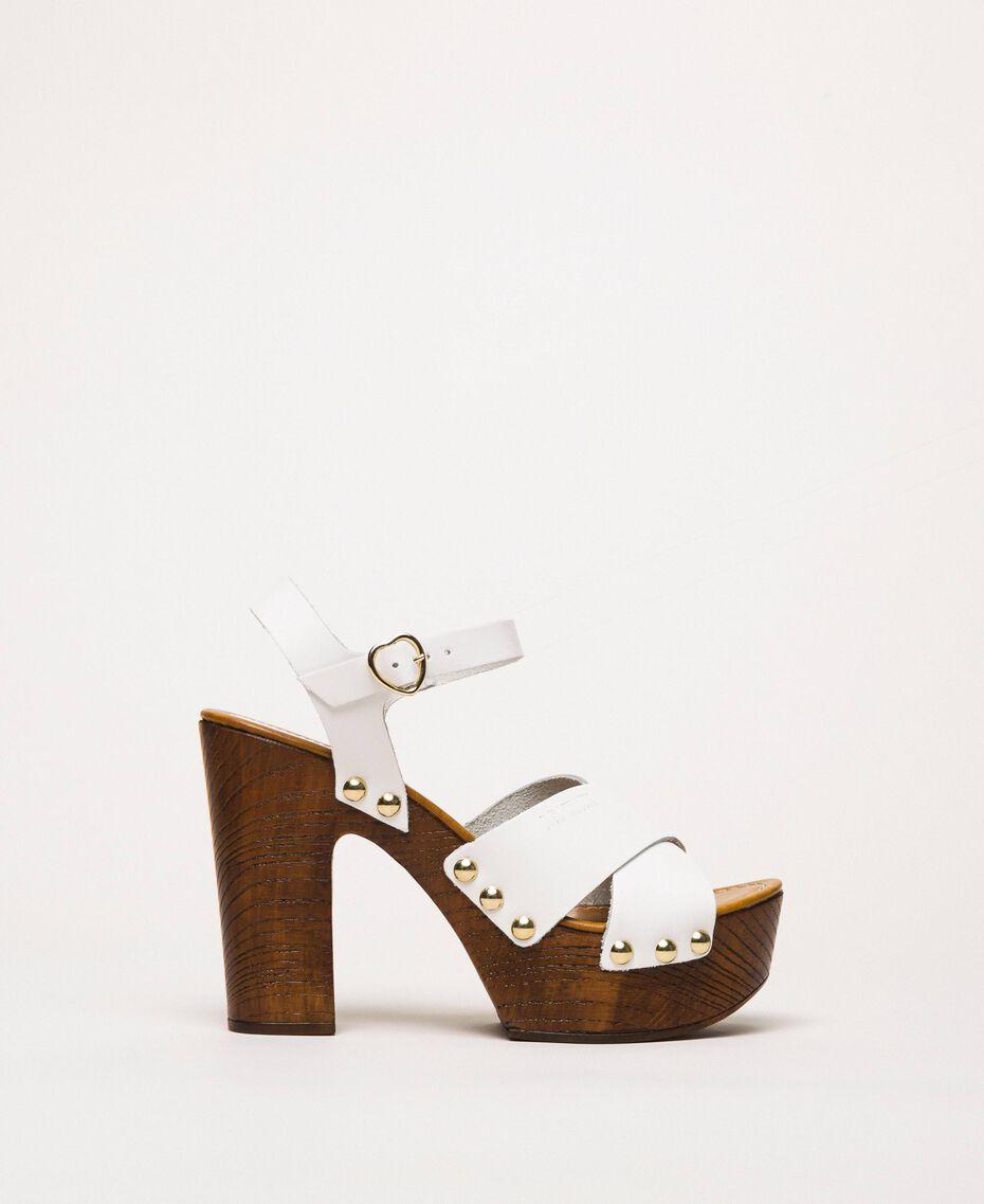 Clog-Sandalette aus Leder Weiß Frau 201MCT018-02