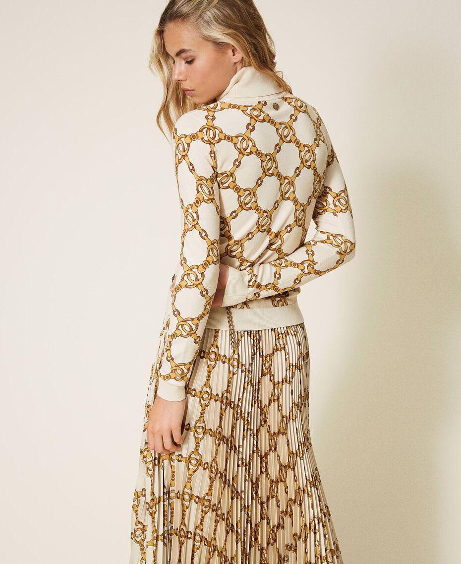 Turtleneck with chain print Ivory / Gold Large Chain Print Woman 202TT3340-03