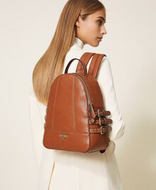 Faux leather backpack with straps Leather Brown Woman 202MA7042-0S