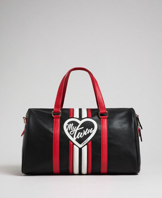 Faux leather weekend bag with bands and logo