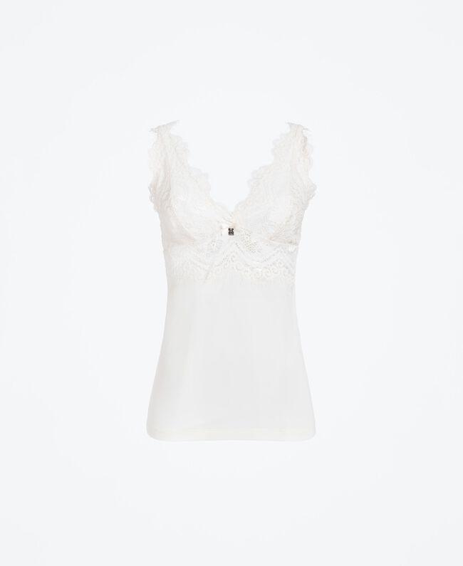 Unterhemd aus Spitze und Mikrofaser Weiß Frau IA8CAA-01