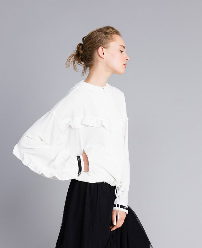 Georgette jacket with ruches White Snow Woman PA82HA-03