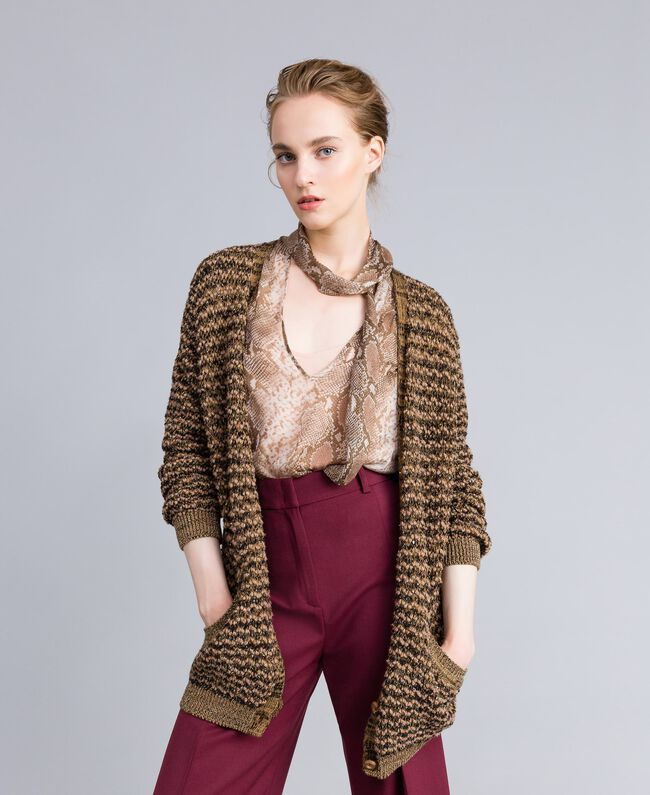 Jacquard lurex cardigan Camel Gold Lurex Jacquard Woman PA835B-01
