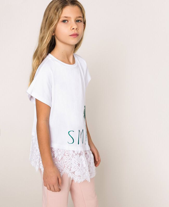 """Asymmetric T-shirt with lace Smile Print / """"Papers"""" White Child 201GJ2318-03"""