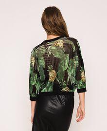 Pull-cardigan au point filet Imprimé Ananas avec Feuilles Noir Femme 201TT3191-06