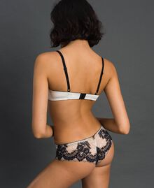 Two-tone lace Brazilian briefs Ivory / Black Woman 192LL6D77-03