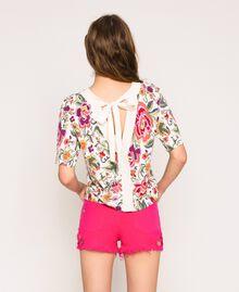 Pull-cardigan imprimé et brodé Imprimé Fleurs Sugar Coral Femme 201TT3170-04