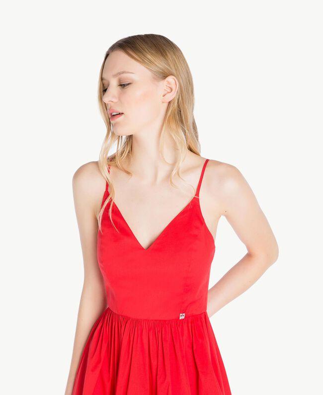 Kleid aus Popeline Zweifarbig Feuerrot / Optisches Weiß Frau YS82FA-04