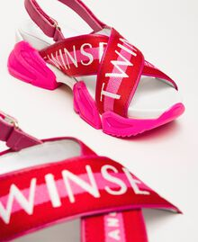 "Trainer sandals with logo bands Two-tone ""Geranium"" Red / ""Jazz"" Pink Woman 201TCT094-03"