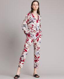 Pantaloni in crêpe con stampa a fiori Stampa Esotica Ecrù Donna 191ST2231-03