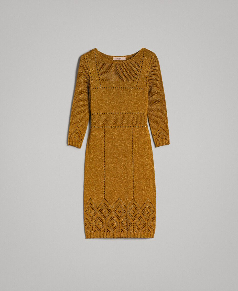 "Openwork lurex dress ""Golden Oak"" Gold Lurex Woman 191TT3111-0S"