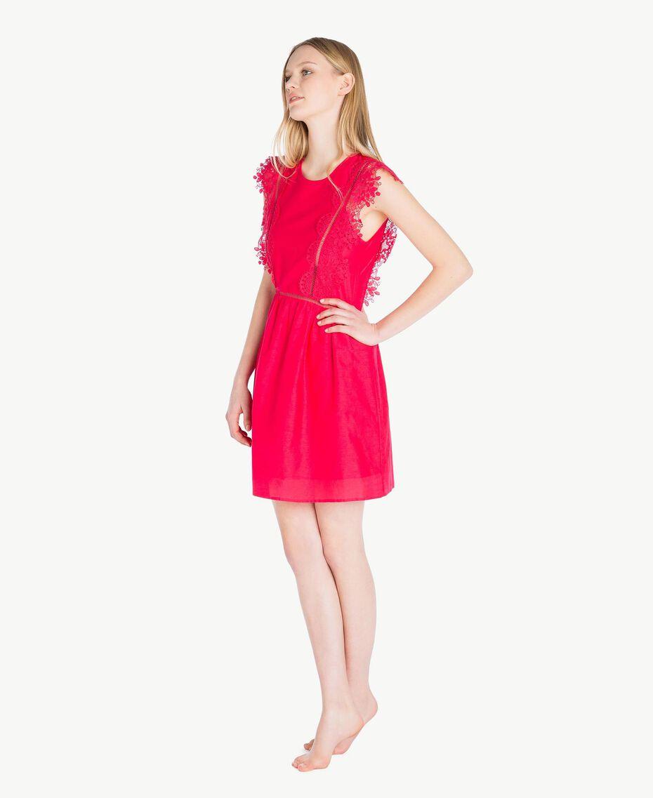 "Kleid mit Spitze ""Pink Twist""-Rot Frau BS8FBB-03"