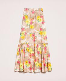 Jupe avec imprimé camouflage et floral Imprimé Hibiscus Multicolore Femme 201MT2384-0S