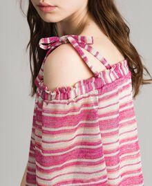"""Bluse mit Lurexstreifen und Schleifchen Streifen Multicolour Pink / """"Tangerine Cream"""" Pink Frau 191LB2AKK-04"""