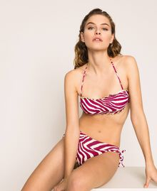 Bikini bottom with drawstring and print Flirty Rose Zebra Print Woman 201LBMG99-02