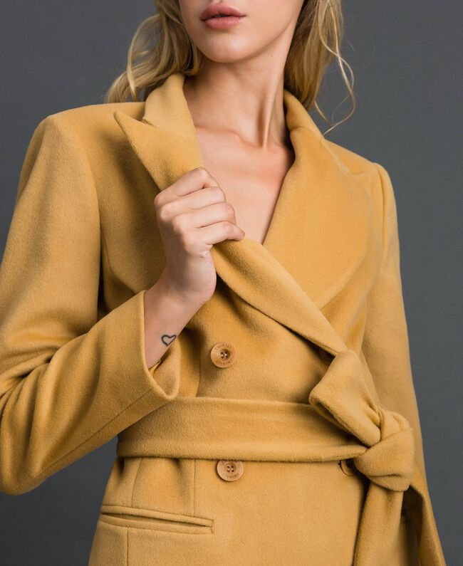 "Double breasted wool cloth coat ""Gold Camel"" Beige Woman 999TT2030-03"