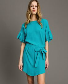 Kleid mit Volants aus Seidenmischung Keramikblau Frau 191TT2074-02